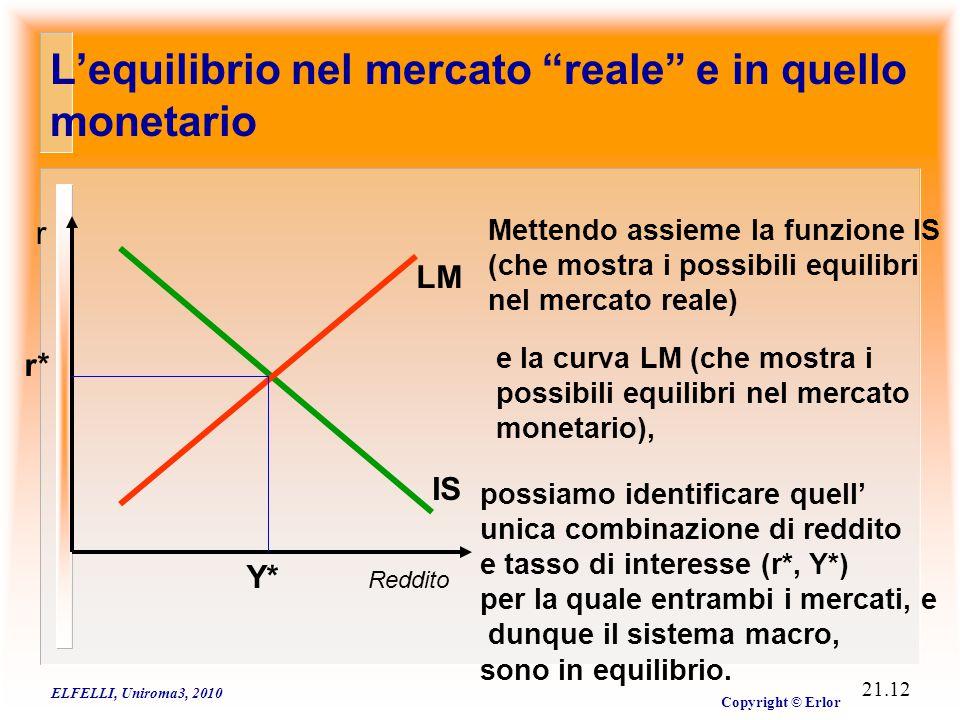 """ELFELLI, Uniroma3, 2010 Copyright © Erlor 21.12 L'equilibrio nel mercato """"reale"""" e in quello monetario Reddito r IS Mettendo assieme la funzione IS (c"""