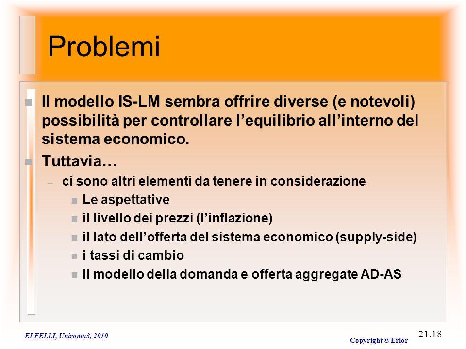 ELFELLI, Uniroma3, 2010 Copyright © Erlor 21.18 Problemi n Il modello IS-LM sembra offrire diverse (e notevoli) possibilità per controllare l'equilibr