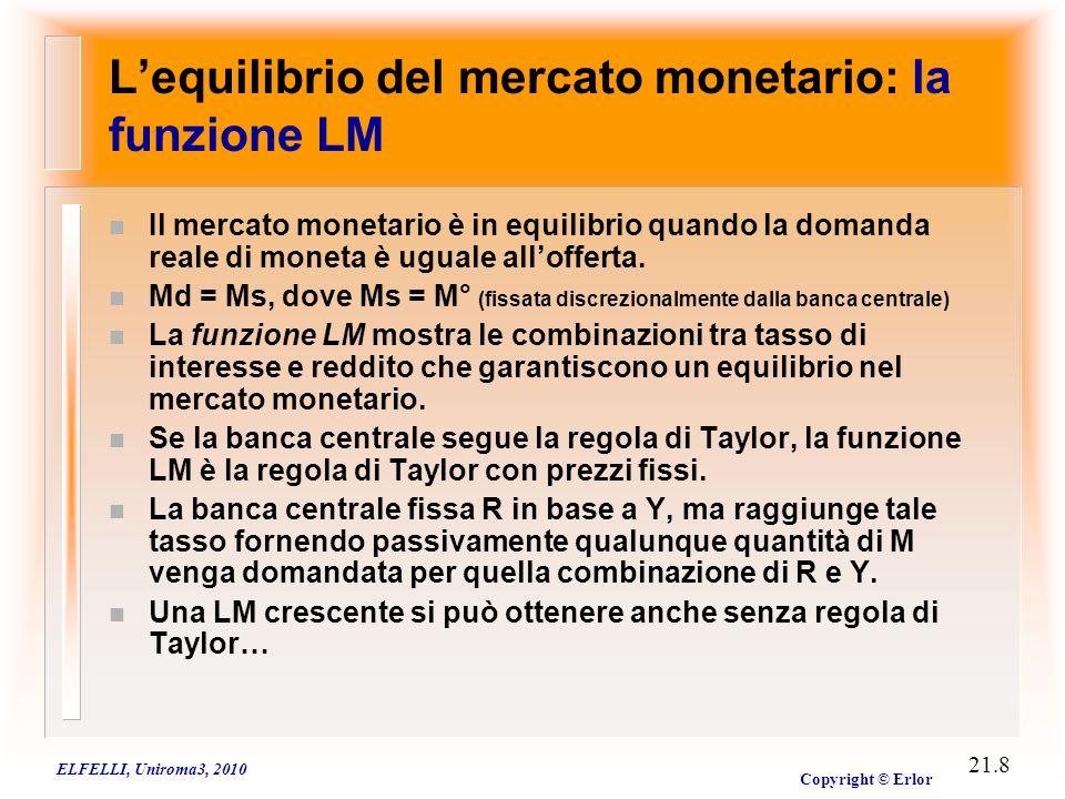 ELFELLI, Uniroma3, 2010 Copyright © Erlor 21.8 L'equilibrio del mercato monetario: la funzione LM n Il mercato monetario è in equilibrio quando la dom