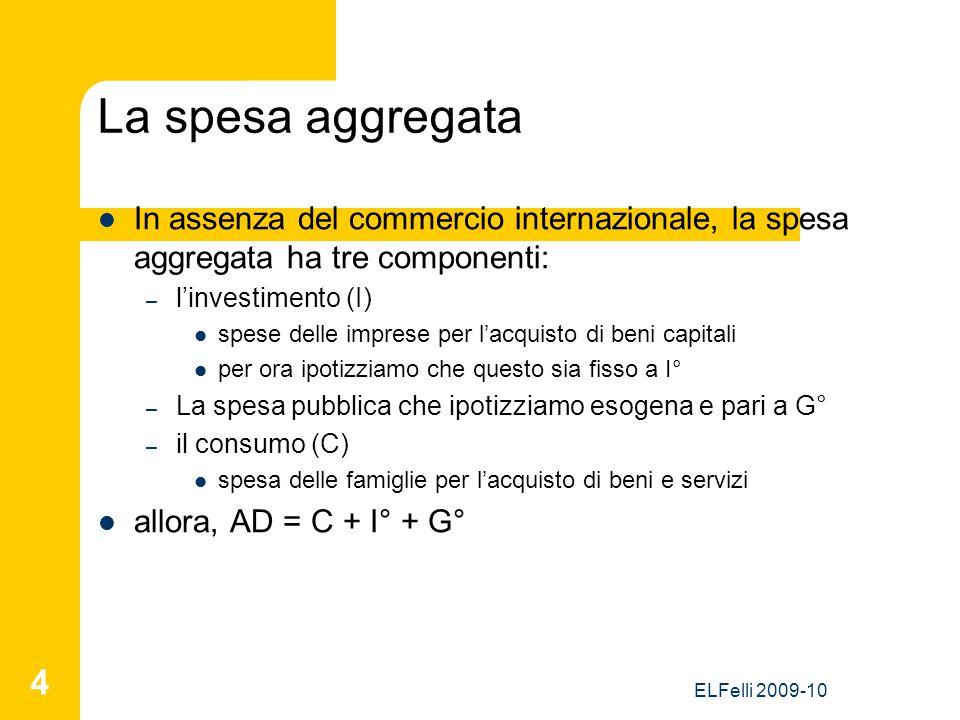 ELFelli 2009-10 4 La spesa aggregata In assenza del commercio internazionale, la spesa aggregata ha tre componenti: – l'investimento (I) spese delle i