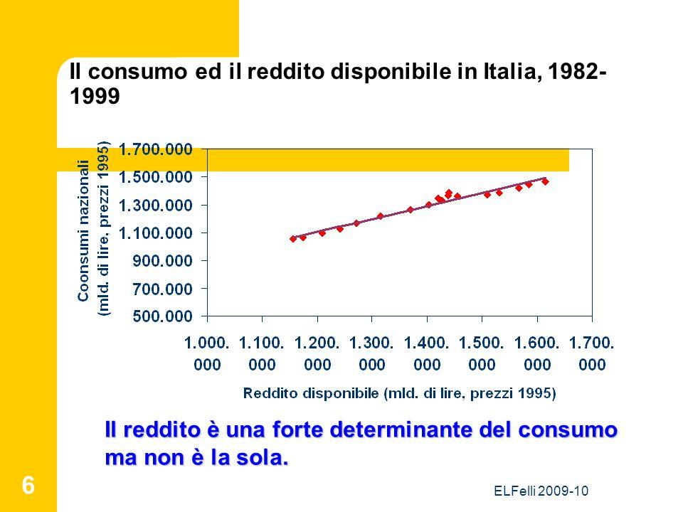 ELFelli 2009-10 6 Il consumo ed il reddito disponibile in Italia, 1982- 1999 Il reddito è una forte determinante del consumo ma non è la sola.