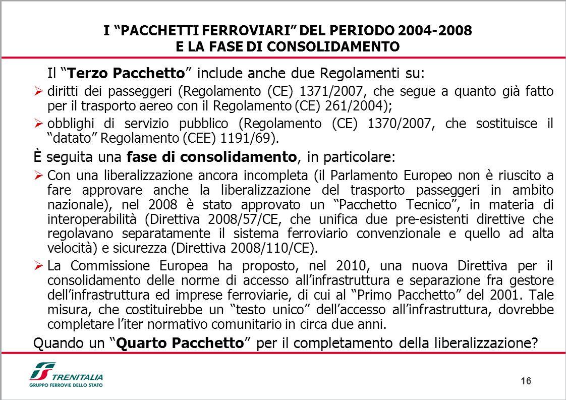 """16 I """"PACCHETTI FERROVIARI"""" DEL PERIODO 2004-2008 E LA FASE DI CONSOLIDAMENTO Il """"Terzo Pacchetto"""" include anche due Regolamenti su:  diritti dei pas"""