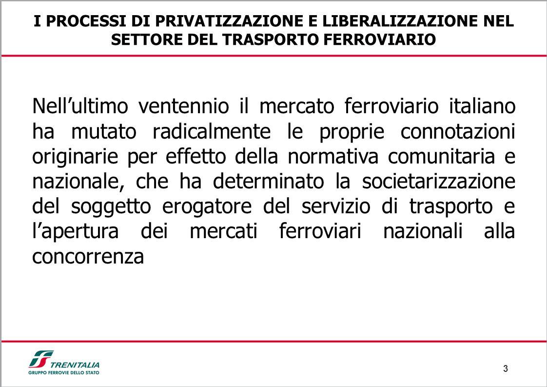 3 I PROCESSI DI PRIVATIZZAZIONE E LIBERALIZZAZIONE NEL SETTORE DEL TRASPORTO FERROVIARIO Nell'ultimo ventennio il mercato ferroviario italiano ha muta