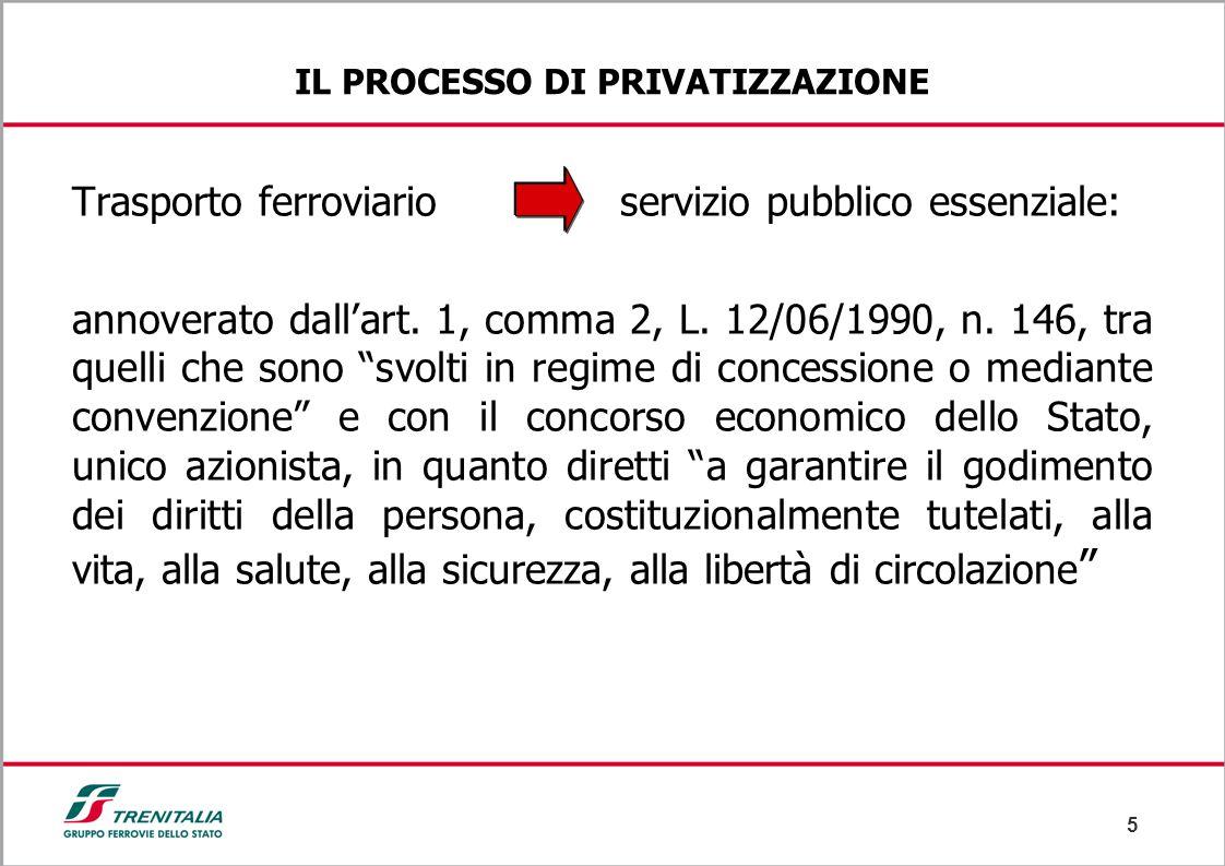 5 IL PROCESSO DI PRIVATIZZAZIONE Trasporto ferroviario servizio pubblico essenziale: annoverato dall'art. 1, comma 2, L. 12/06/1990, n. 146, tra quell