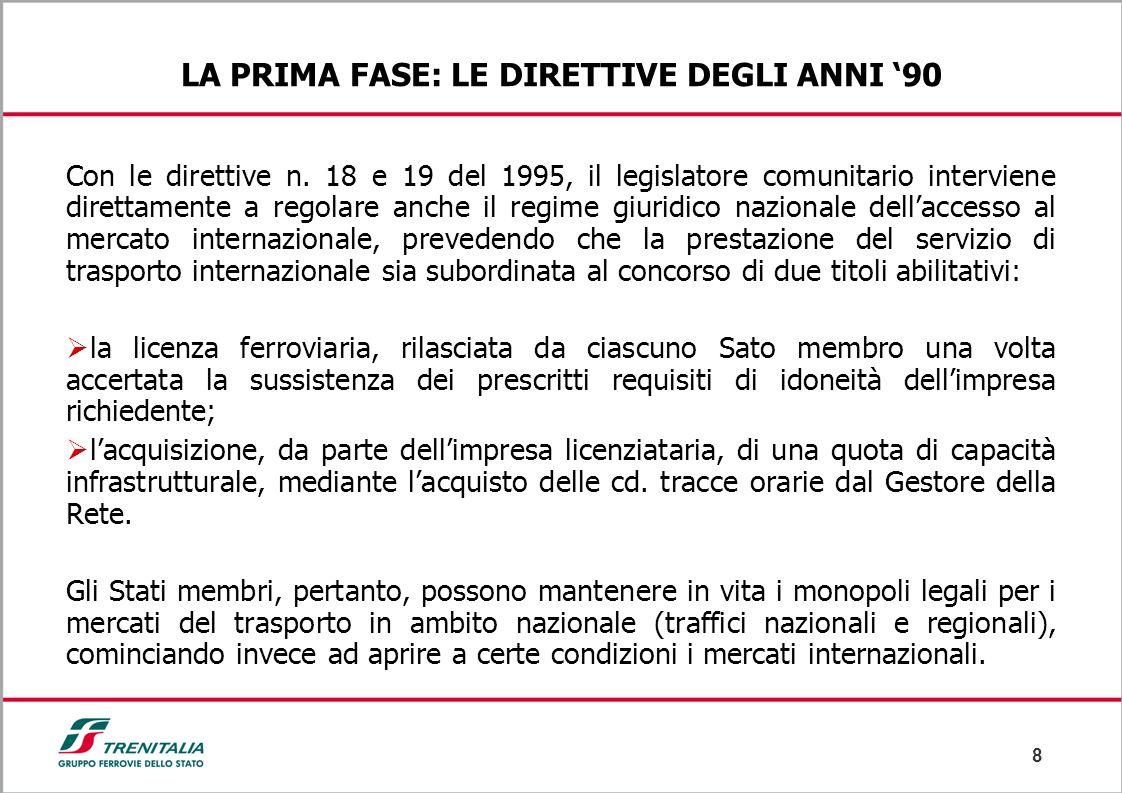 8 LA PRIMA FASE: LE DIRETTIVE DEGLI ANNI '90 Con le direttive n. 18 e 19 del 1995, il legislatore comunitario interviene direttamente a regolare anche