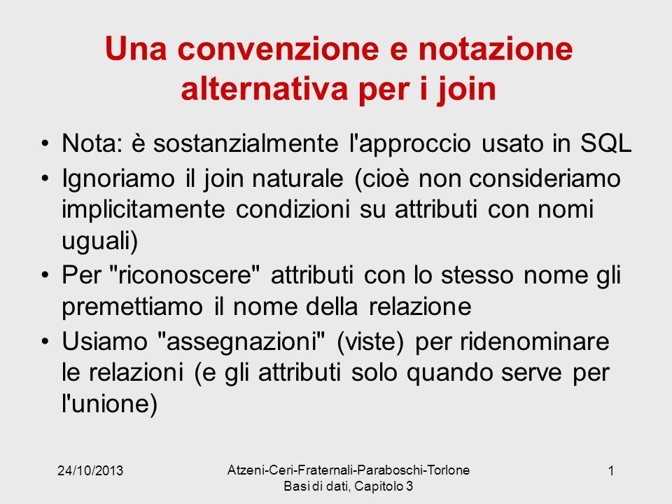 Una convenzione e notazione alternativa per i join Nota: è sostanzialmente l'approccio usato in SQL Ignoriamo il join naturale (cioè non consideriamo