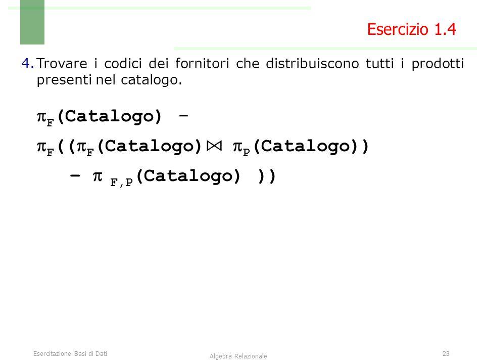 Esercitazione Basi di Dati23 Algebra Relazionale Esercizio 1.4 4.Trovare i codici dei fornitori che distribuiscono tutti i prodotti presenti nel catalogo.