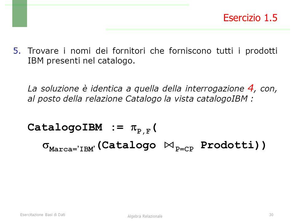 Esercitazione Basi di Dati30 Algebra Relazionale 5.Trovare i nomi dei fornitori che forniscono tutti i prodotti IBM presenti nel catalogo. La soluzion