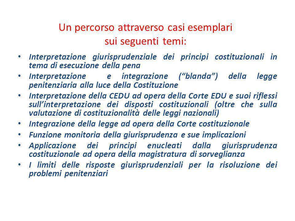 Un percorso attraverso casi esemplari sui seguenti temi: Interpretazione giurisprudenziale dei principi costituzionali in tema di esecuzione della pen