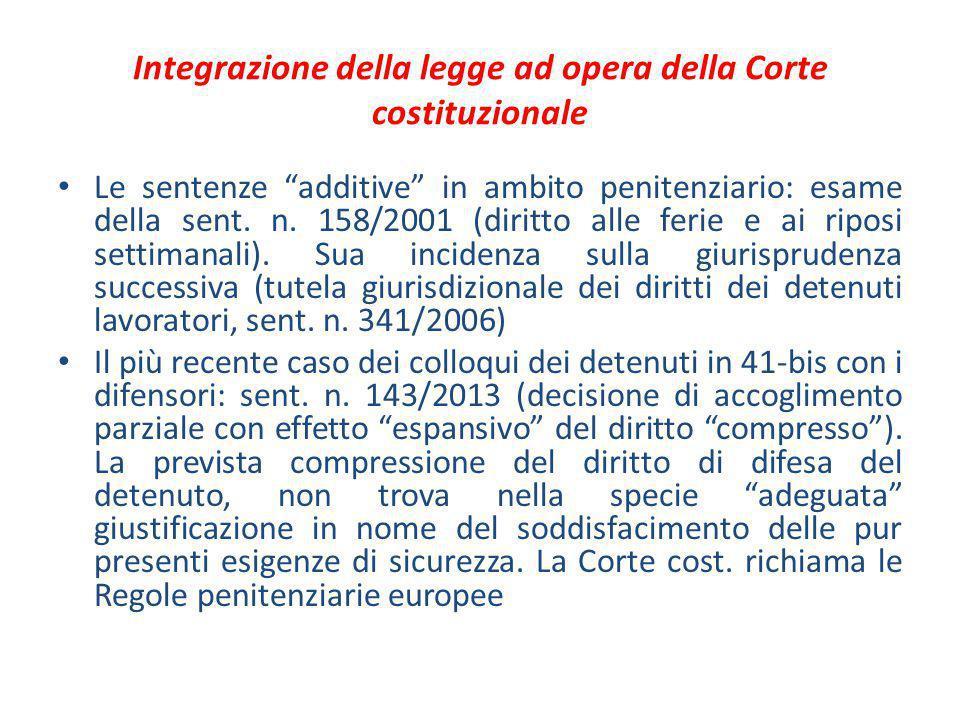 """Integrazione della legge ad opera della Corte costituzionale Le sentenze """"additive"""" in ambito penitenziario: esame della sent. n. 158/2001 (diritto al"""