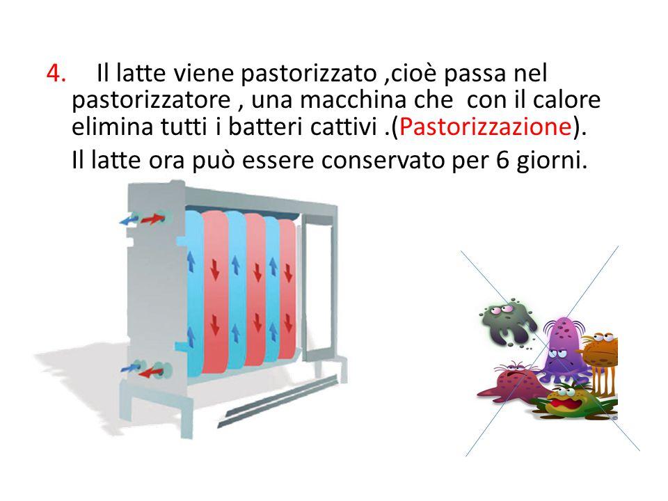 4. Il latte viene pastorizzato,cioè passa nel pastorizzatore, una macchina che con il calore elimina tutti i batteri cattivi.(Pastorizzazione). Il lat