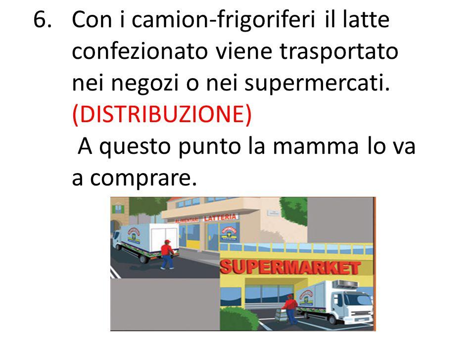 6.Con i camion-frigoriferi il latte confezionato viene trasportato nei negozi o nei supermercati. (DISTRIBUZIONE) A questo punto la mamma lo va a comp