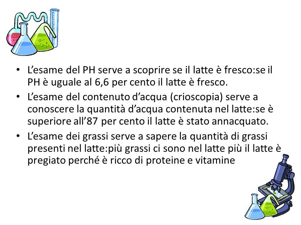 L'esame del PH serve a scoprire se il latte è fresco:se il PH è uguale al 6,6 per cento il latte è fresco. L'esame del contenuto d'acqua (crioscopia)