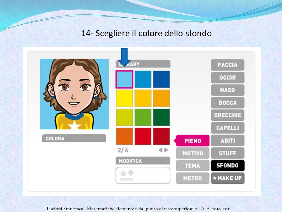 14- Scegliere il colore dello sfondo Lucioni Francesca - Matematiche elementari dal punto di vista superiore A - A.