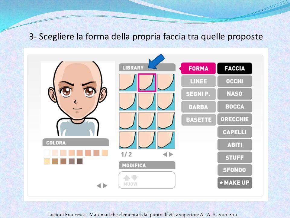 3- Scegliere la forma della propria faccia tra quelle proposte Lucioni Francesca - Matematiche elementari dal punto di vista superiore A - A.