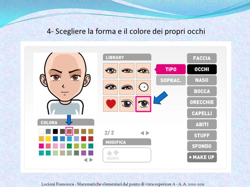 4- Scegliere la forma e il colore dei propri occhi Lucioni Francesca - Matematiche elementari dal punto di vista superiore A - A.