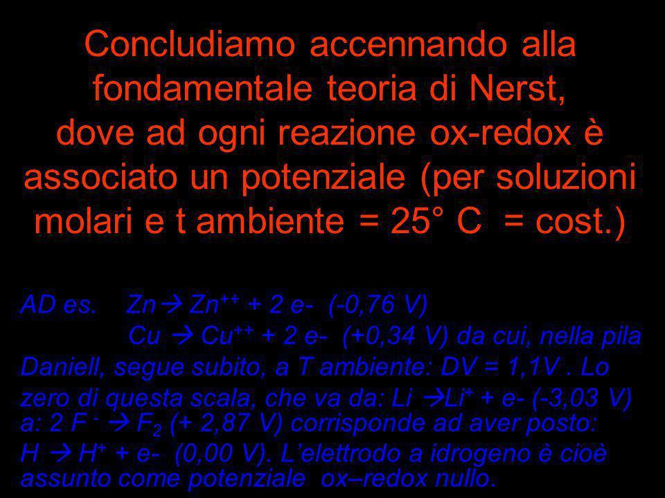 Concludiamo accennando alla fondamentale teoria di Nerst, dove ad ogni reazione ox-redox è associato un potenziale (per soluzioni molari e t ambiente