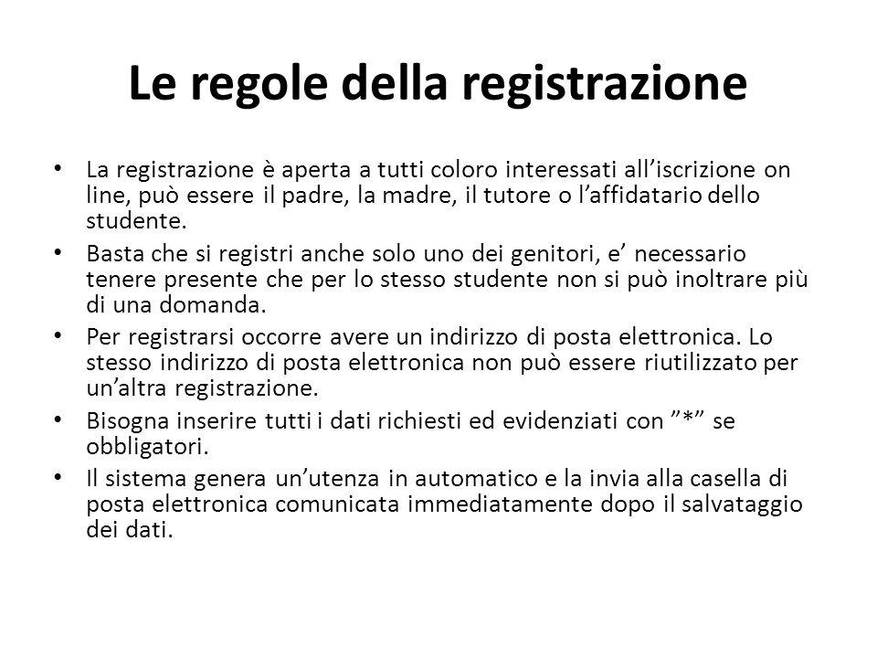 Le regole della registrazione La registrazione è aperta a tutti coloro interessati all'iscrizione on line, può essere il padre, la madre, il tutore o