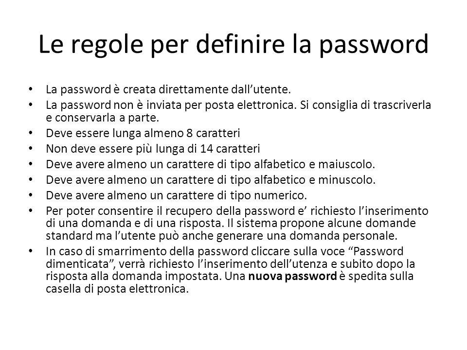Le regole per definire la password La password è creata direttamente dall'utente. La password non è inviata per posta elettronica. Si consiglia di tra