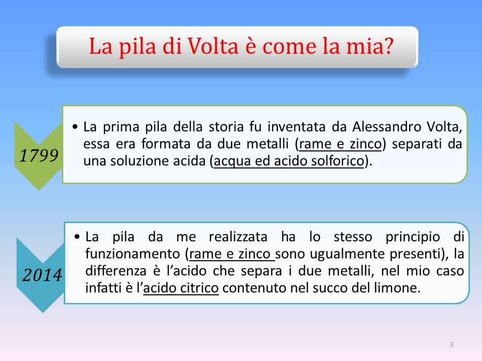 La pila di Volta è come la mia? 1799 La prima pila della storia fu inventata da Alessandro Volta, essa era formata da due metalli (rame e zinco) separ