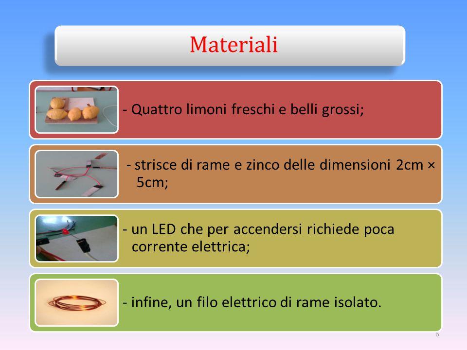6 Materiali - Quattro limoni freschi e belli grossi; - strisce di rame e zinco delle dimensioni 2cm × 5cm; - un LED che per accendersi richiede poca c