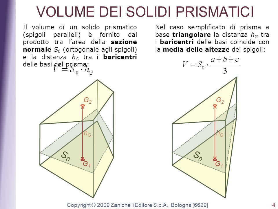 Copyright © 2009 Zanichelli Editore S.p.A., Bologna [6629] 4 Il volume di un solido prismatico (spigoli paralleli) è fornito dal prodotto tra l'area d