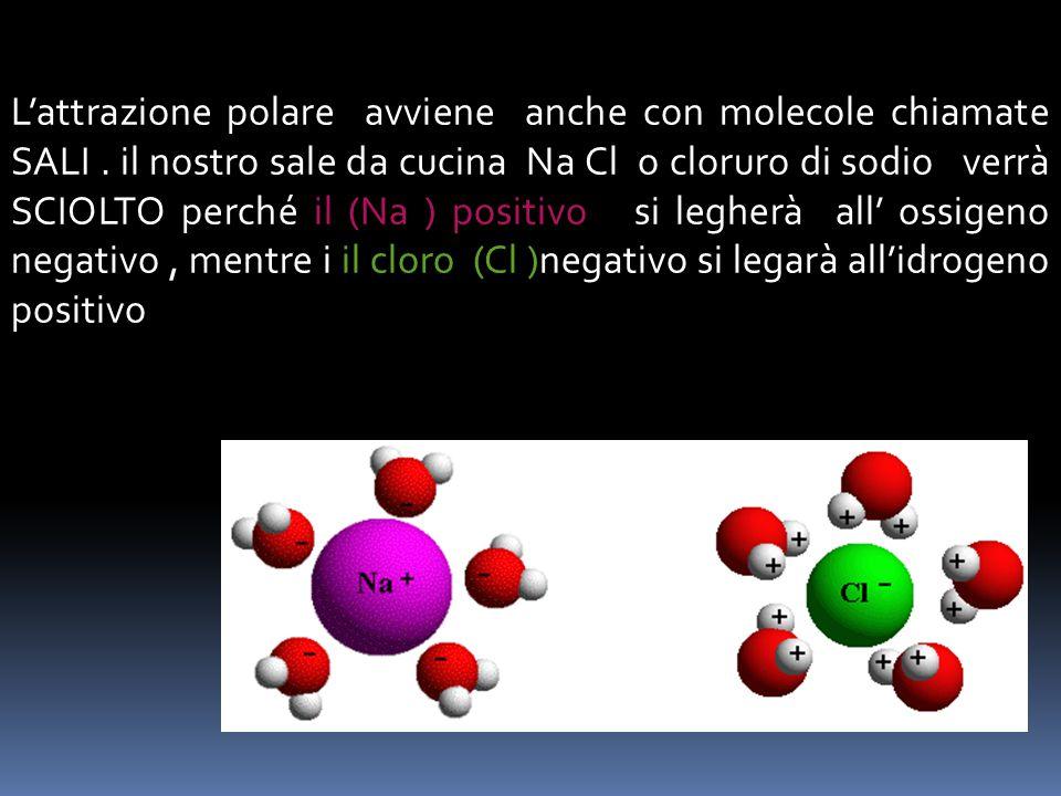 Ci sarà un attrazione tra le cariche diverse delle due molecole detta ATTRAZIONE POLARE