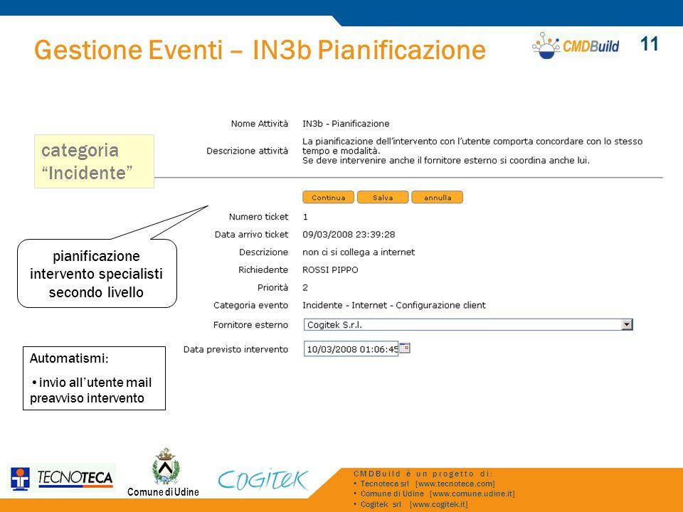 Gestione Eventi – IN3b Pianificazione Comune di Udine CMDBuild è un progetto di: Tecnoteca srl [www.tecnoteca.com] Comune di Udine [www.comune.udine.i