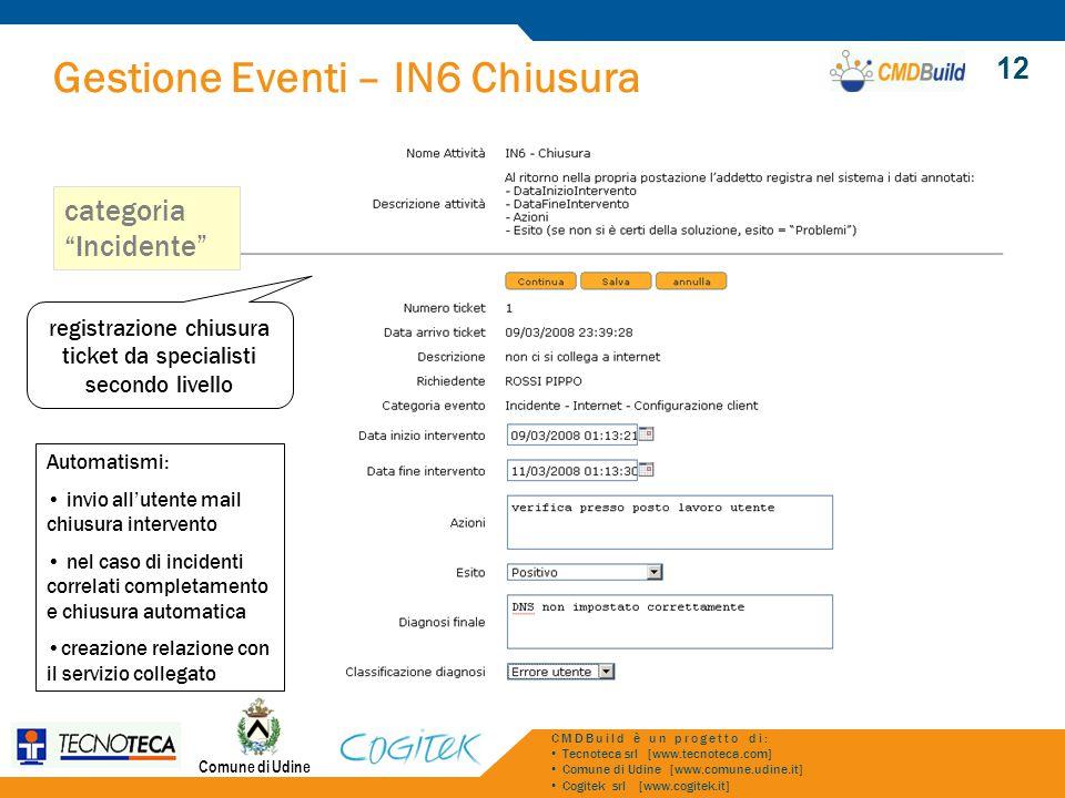 Gestione Eventi – IN6 Chiusura Comune di Udine CMDBuild è un progetto di: Tecnoteca srl [www.tecnoteca.com] Comune di Udine [www.comune.udine.it] Cogi