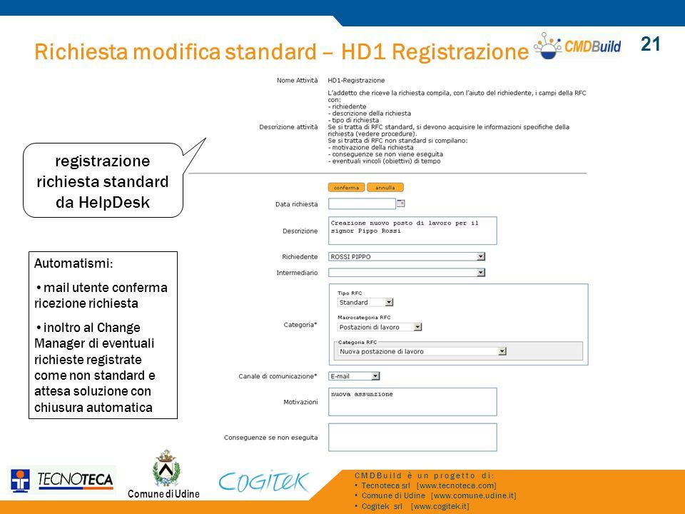 Richiesta modifica standard – HD1 Registrazione Comune di Udine CMDBuild è un progetto di: Tecnoteca srl [www.tecnoteca.com] Comune di Udine [www.comu