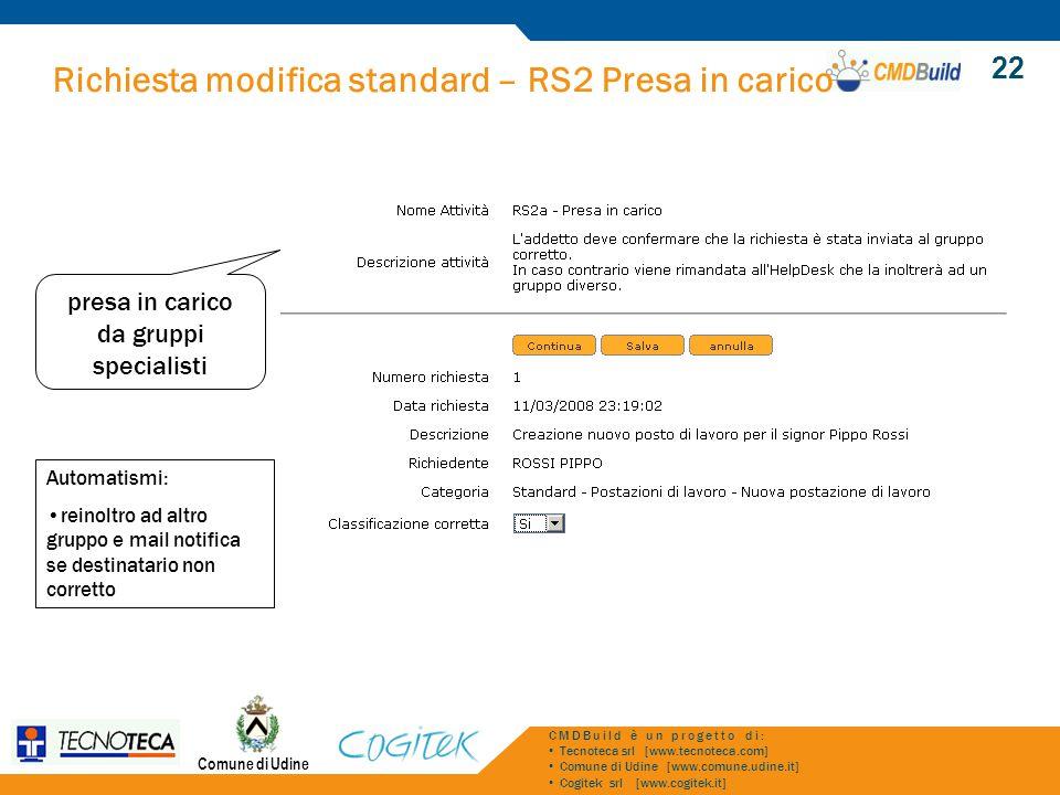 Richiesta modifica standard – RS2 Presa in carico Comune di Udine CMDBuild è un progetto di: Tecnoteca srl [www.tecnoteca.com] Comune di Udine [www.co