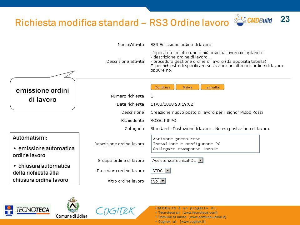 Richiesta modifica standard – RS3 Ordine lavoro Comune di Udine CMDBuild è un progetto di: Tecnoteca srl [www.tecnoteca.com] Comune di Udine [www.comu