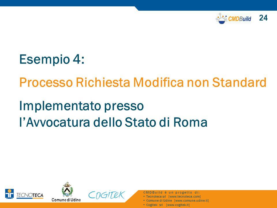 Comune di Udine 24 CMDBuild è un progetto di: Tecnoteca srl [www.tecnoteca.com] Comune di Udine [www.comune.udine.it] Cogitek srl [www.cogitek.it] Esempio 4: Processo Richiesta Modifica non Standard Implementato presso l'Avvocatura dello Stato di Roma