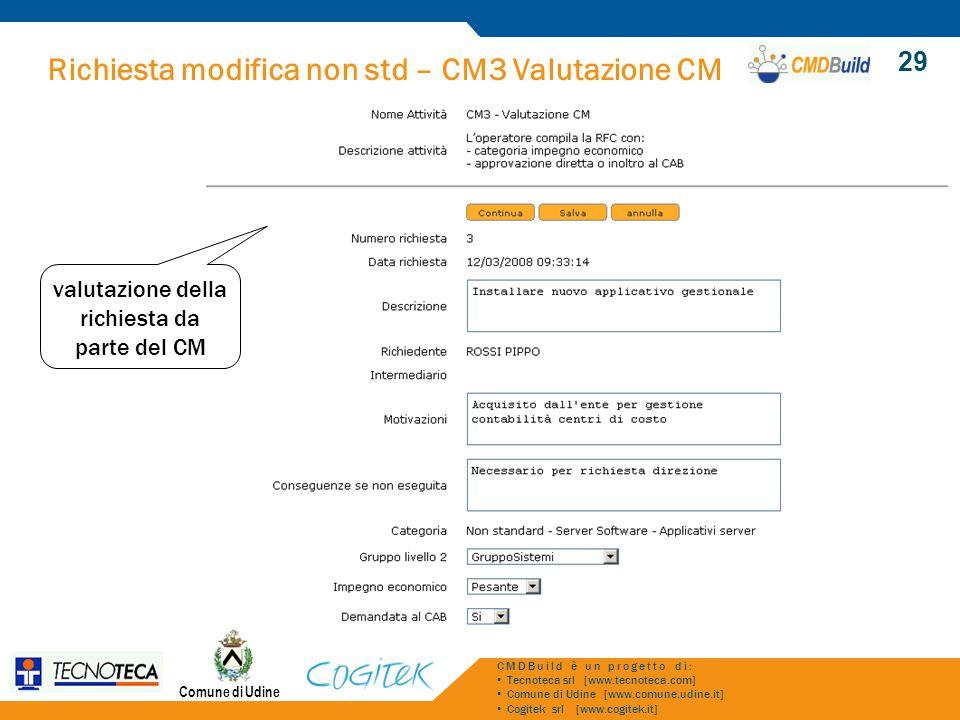 Richiesta modifica non std – CM3 Valutazione CM Comune di Udine CMDBuild è un progetto di: Tecnoteca srl [www.tecnoteca.com] Comune di Udine [www.comu