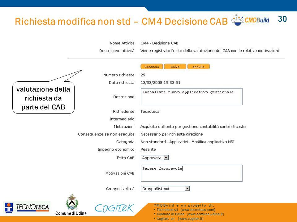 Richiesta modifica non std – CM4 Decisione CAB Comune di Udine CMDBuild è un progetto di: Tecnoteca srl [www.tecnoteca.com] Comune di Udine [www.comune.udine.it] Cogitek srl [www.cogitek.it] 30 valutazione della richiesta da parte del CAB