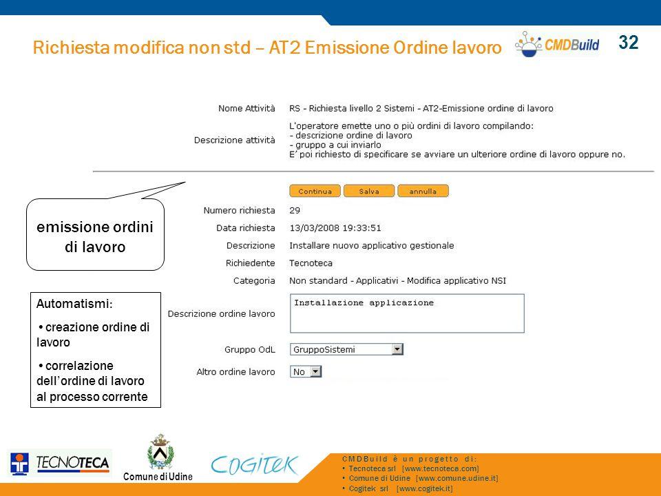 Richiesta modifica non std – AT2 Emissione Ordine lavoro Comune di Udine CMDBuild è un progetto di: Tecnoteca srl [www.tecnoteca.com] Comune di Udine