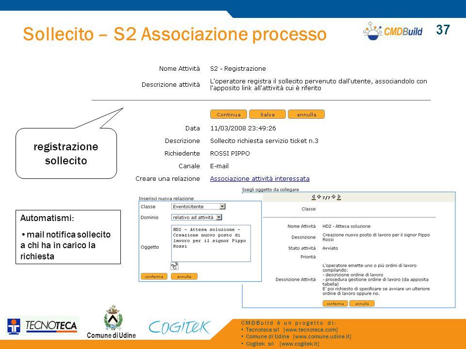 Sollecito – S2 Associazione processo Comune di Udine CMDBuild è un progetto di: Tecnoteca srl [www.tecnoteca.com] Comune di Udine [www.comune.udine.it