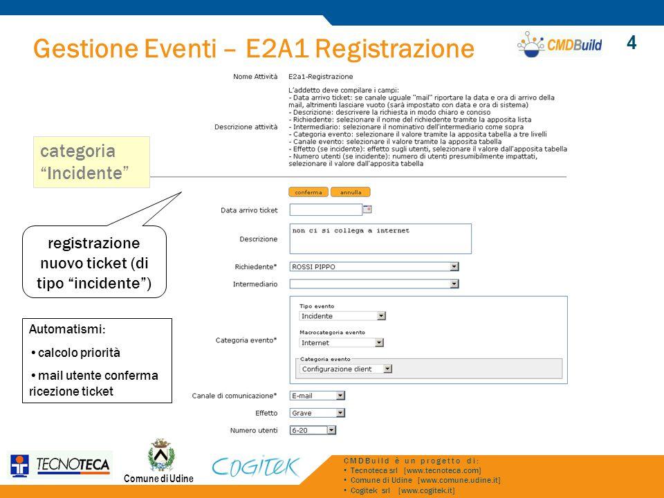 Gestione Eventi – E2A1 Registrazione Comune di Udine CMDBuild è un progetto di: Tecnoteca srl [www.tecnoteca.com] Comune di Udine [www.comune.udine.it