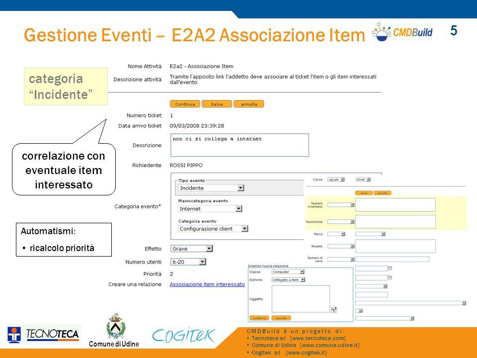 Gestione Eventi – E2A2 Associazione Item Comune di Udine CMDBuild è un progetto di: Tecnoteca srl [www.tecnoteca.com] Comune di Udine [www.comune.udin