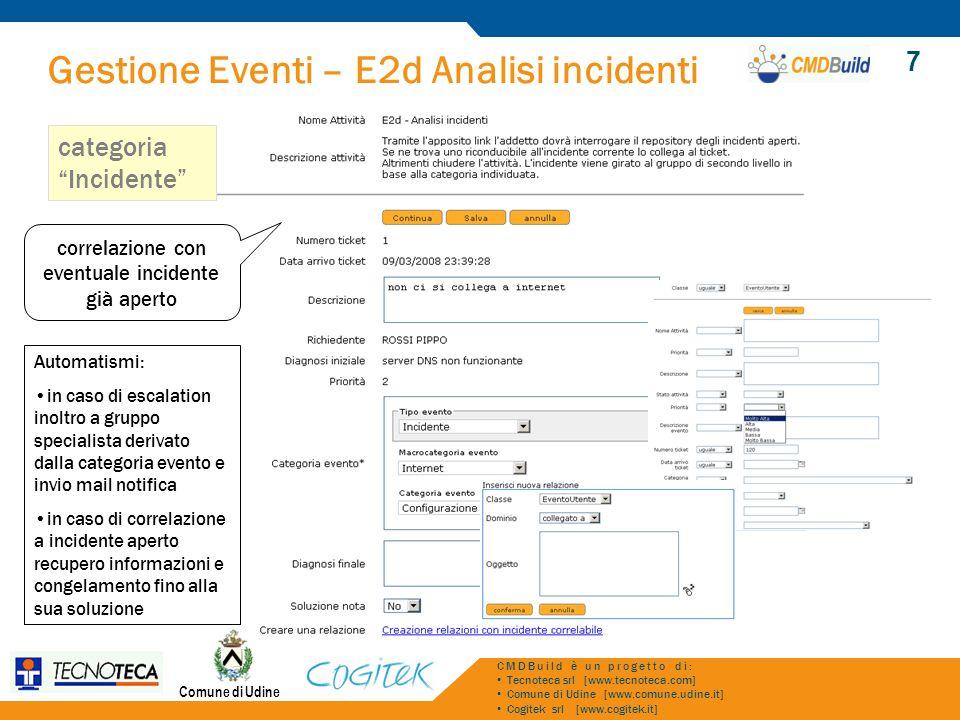 Gestione Eventi – E2d Analisi incidenti Comune di Udine CMDBuild è un progetto di: Tecnoteca srl [www.tecnoteca.com] Comune di Udine [www.comune.udine