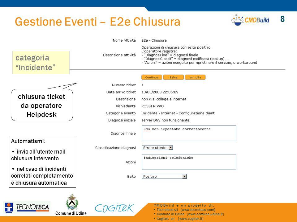 Gestione Eventi – E2e Chiusura Comune di Udine CMDBuild è un progetto di: Tecnoteca srl [www.tecnoteca.com] Comune di Udine [www.comune.udine.it] Cogi