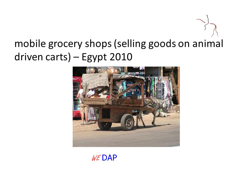 mobile grocery shops (selling goods on animal driven carts) – Egypt 2010