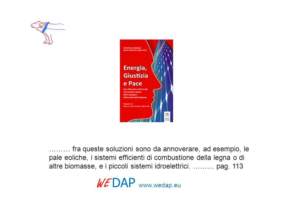 WE DAP www.wedap.eu ……… fra queste soluzioni sono da annoverare, ad esempio, le pale eoliche, i sistemi efficienti di combustione della legna o di alt
