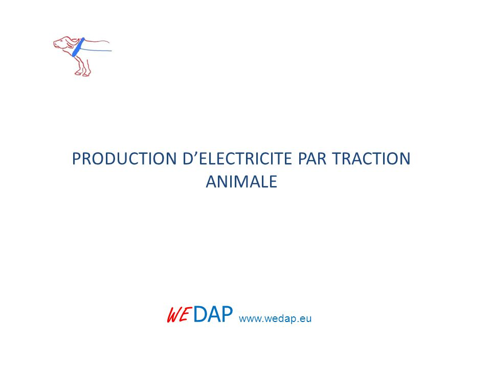 PRODUCTION D'ELECTRICITE PAR TRACTION ANIMALE WE DAP www.wedap.eu