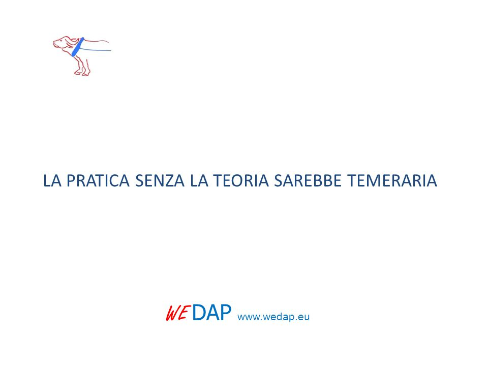 LA PRATICA SENZA LA TEORIA SAREBBE TEMERARIA WE DAP www.wedap.eu