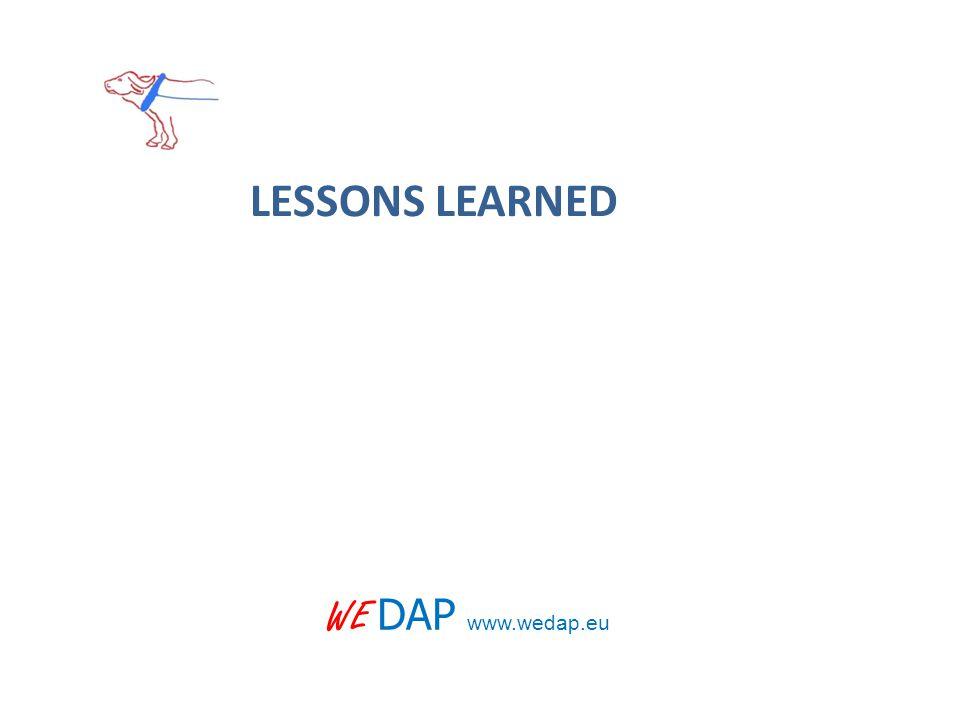 WE DAP www.wedap.eu LESSONS LEARNED