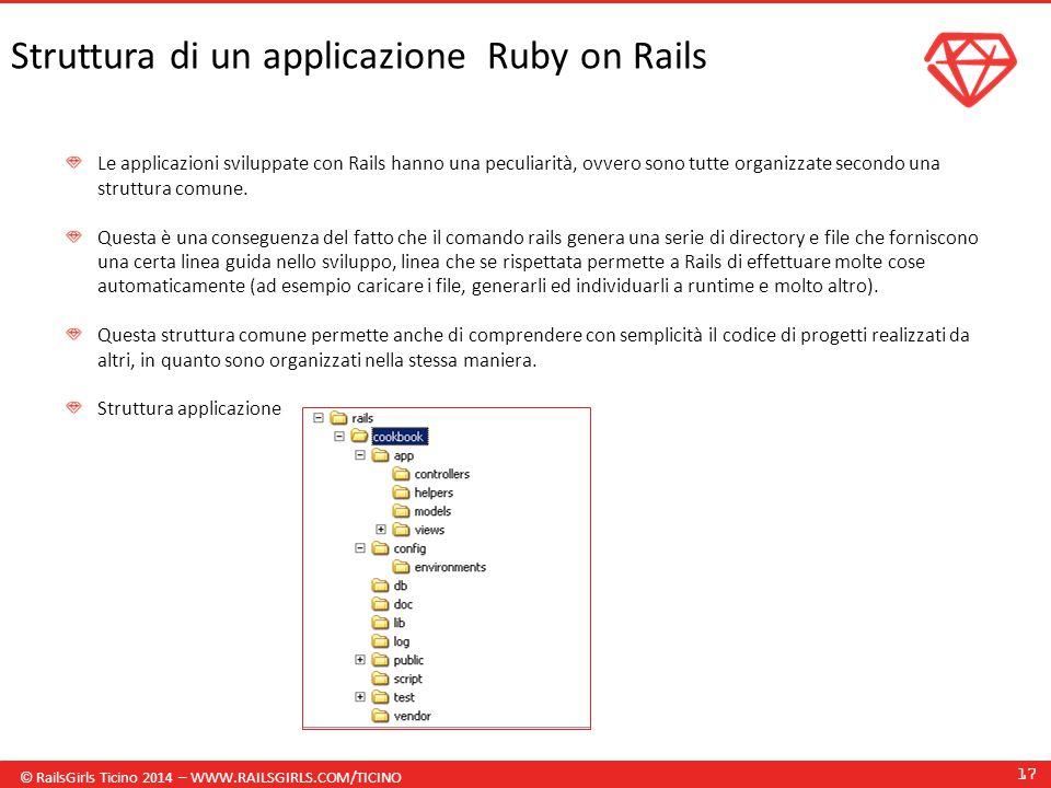 © RailsGirls Ticino 2014 – WWW.RAILSGIRLS.COM/TICINO 17 Struttura di un applicazione Ruby on Rails Le applicazioni sviluppate con Rails hanno una peculiarità, ovvero sono tutte organizzate secondo una struttura comune.