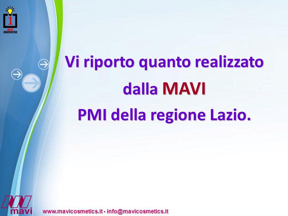 Powerpoint Templates www.mavicosmetics.it - info@mavicosmetics.it Vi riporto quanto realizzato dalla MAVI PMI della regione Lazio.