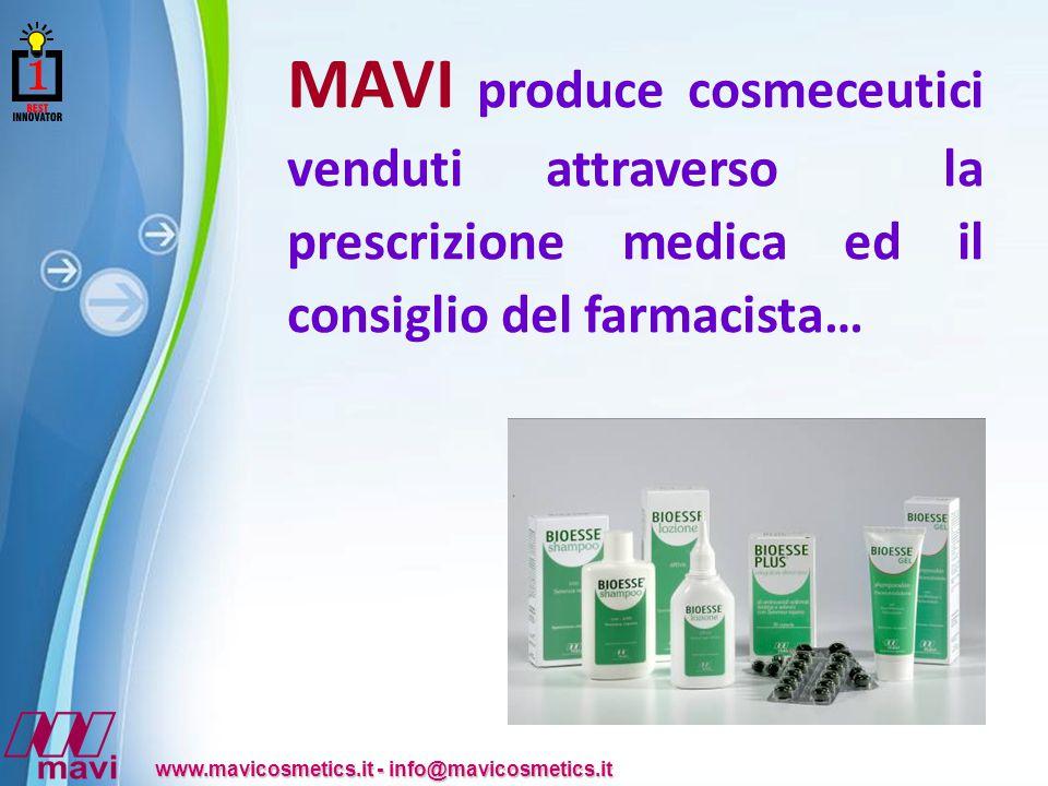 Powerpoint Templates www.mavicosmetics.it - info@mavicosmetics.it MAVI produce cosmeceutici venduti attraverso la prescrizione medica ed il consiglio del farmacista…