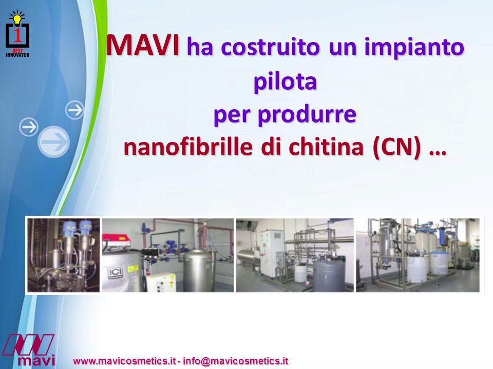 Powerpoint Templates www.mavicosmetics.it - info@mavicosmetics.it MAVI ha costruito un impianto pilota per produrre nanofibrille di chitina (CN) …